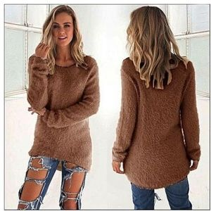 Sweaters - Soft Fuzzy Dark Brown Sweater